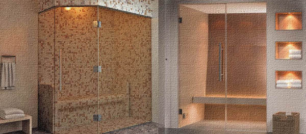 Стеклянный фасад в турецкой бани в квартире
