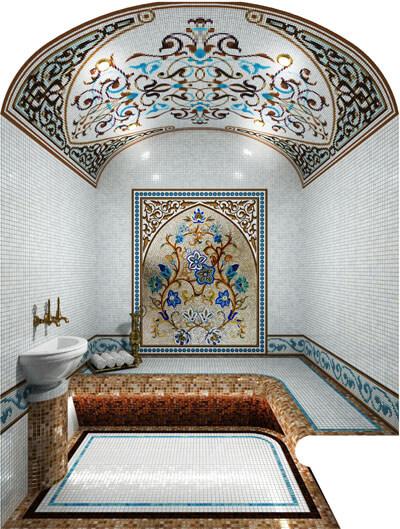 Изготовление монтаж художественного панно из мозаики в хамам