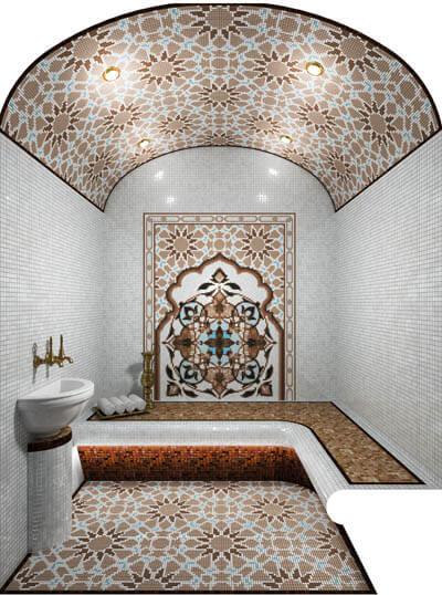 Монтаж изготовление матричных панно из мозаики в бани