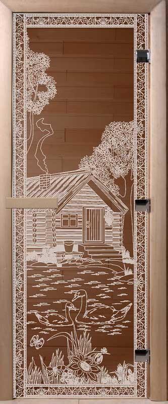 Стеклянные двери для саун DoorWood с рисунком