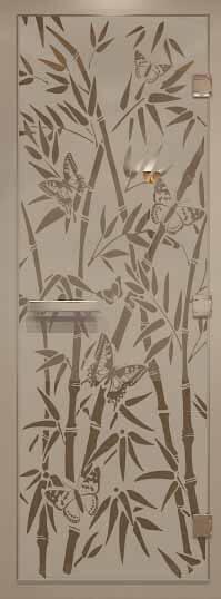 Стеклянная дверь в хамам с рисунком