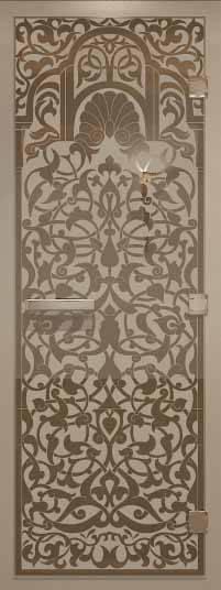 Стеклянная дверь в турецкую баню с рисунком