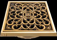 Решетка для трапа под бронзу с рисунком цветы
