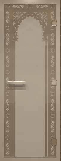 Дверь для хамама российского производителя с рисунком