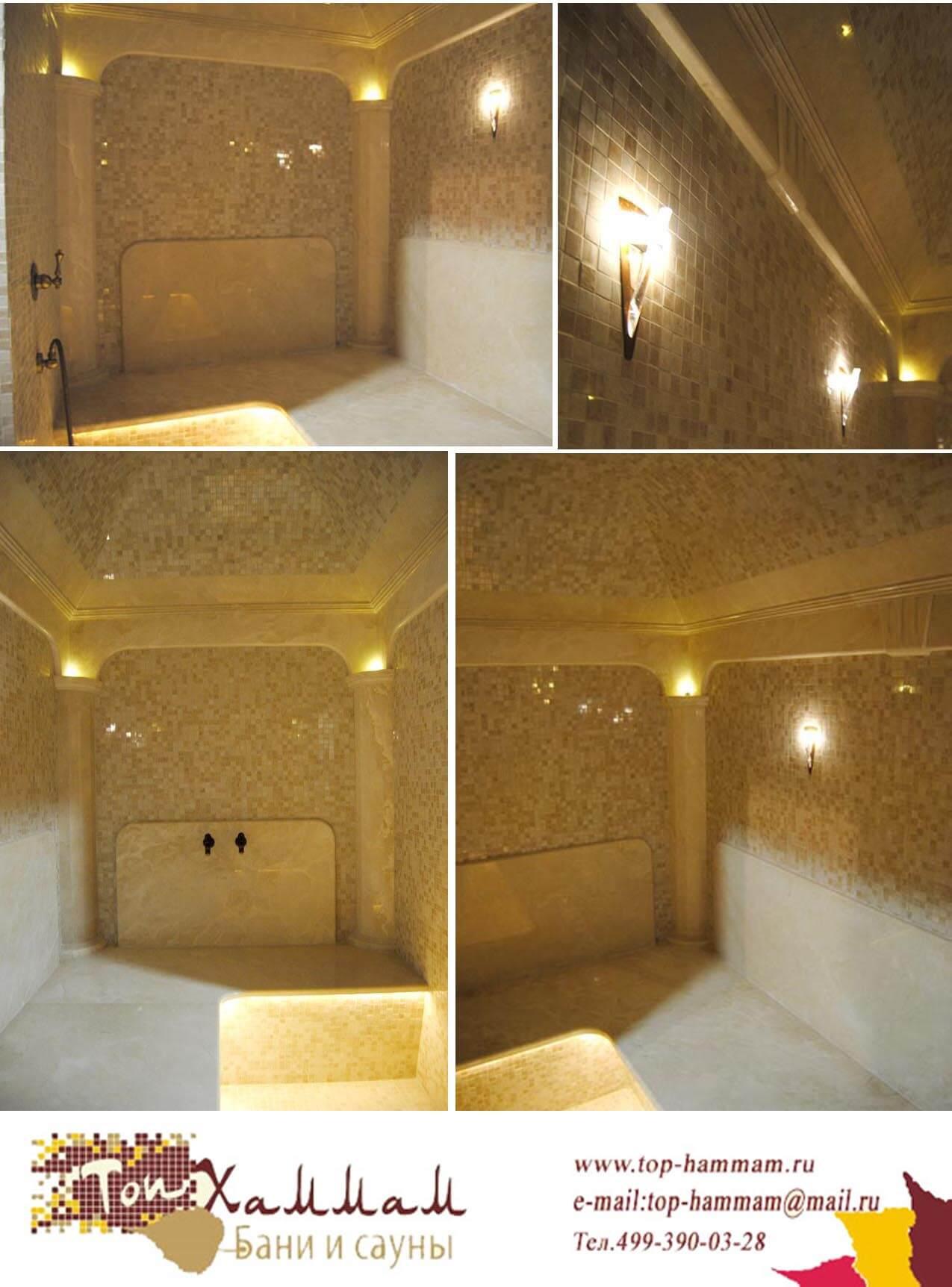 Мраморные колоны в турецкой бани с подсветкой
